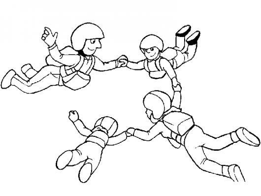 Dibujo De Familia De Paracaidistas Saltando En Paracaidas Para