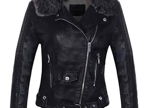 Black Leather Jacket Women With Fur