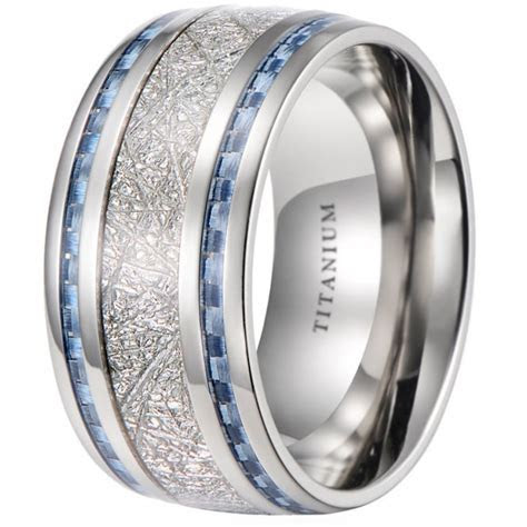 Mens 10mm Meteorite Inlay Titanium Wedding Band Ring With