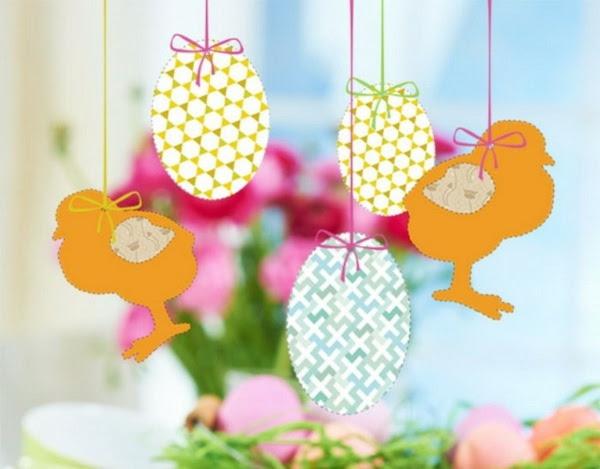 osterdeko basteln korb kirschenblüten dekorieren