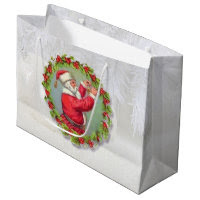 Santa in a Wreath Large Gift Bag