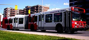 A westbound #97 bus near Lincoln Fields Station