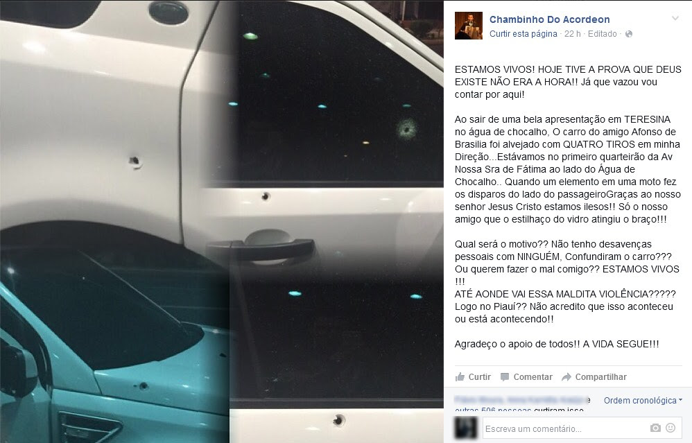 Cantor Chambinho do Acordeon relatou em rede social tentativa de homicídio (Foto: Reprodução/Facebook)