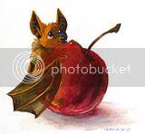 bat,cute,chibi,mini,micro,kawaii,baby,fruit,cherry,still life,fruitbat,art,painting,watercolor,spot illustration,artwork,drawing,original