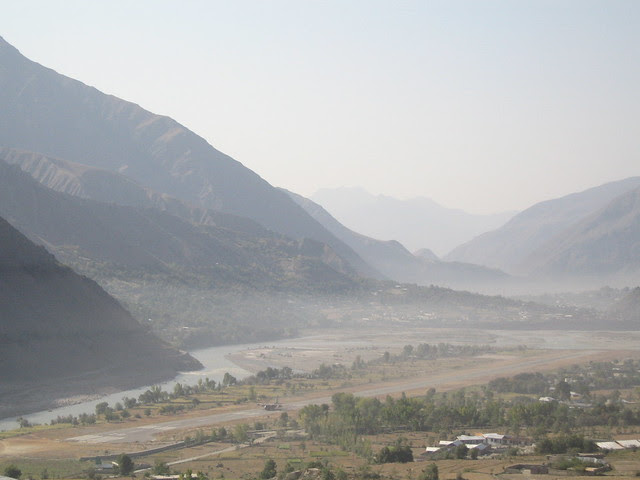 Morning view of Chitral (and its landing strip) from the Hindu Kush Heights hotel