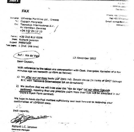 Fax de la oferta de la compañía de salvamento holandesa a la armadora del Prestige, en el que se incluye los servicios del remolcador contratado por Fomento.