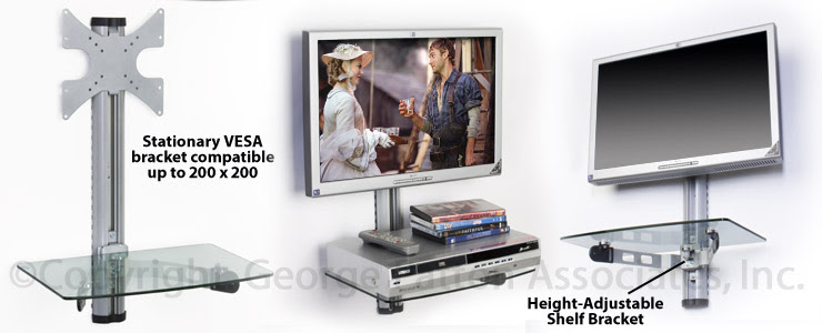 TV Wall Mount with Shelf | Silver Metal Bracket with Glass Shelving