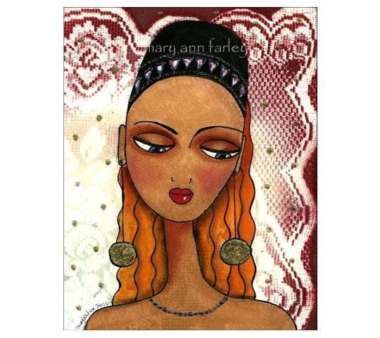"Original Painting, Mixed Media Illustration, Fez Hat, Portrait, 8"" x 10"" Matted, FEZ"