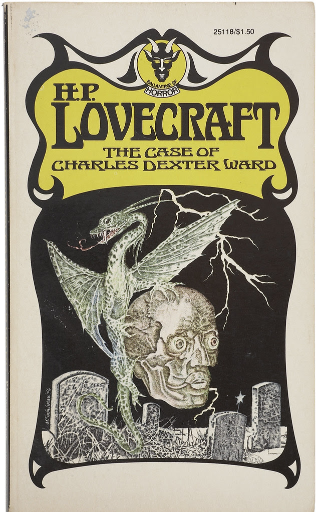 "Murray Tinkelman - Cover for ""The Case of Charles Dexter Ward"" by H.P Lovecraft, paperback cover, 1976"