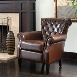 Franklin Brown Tufted Bonded Leather Club Chair
