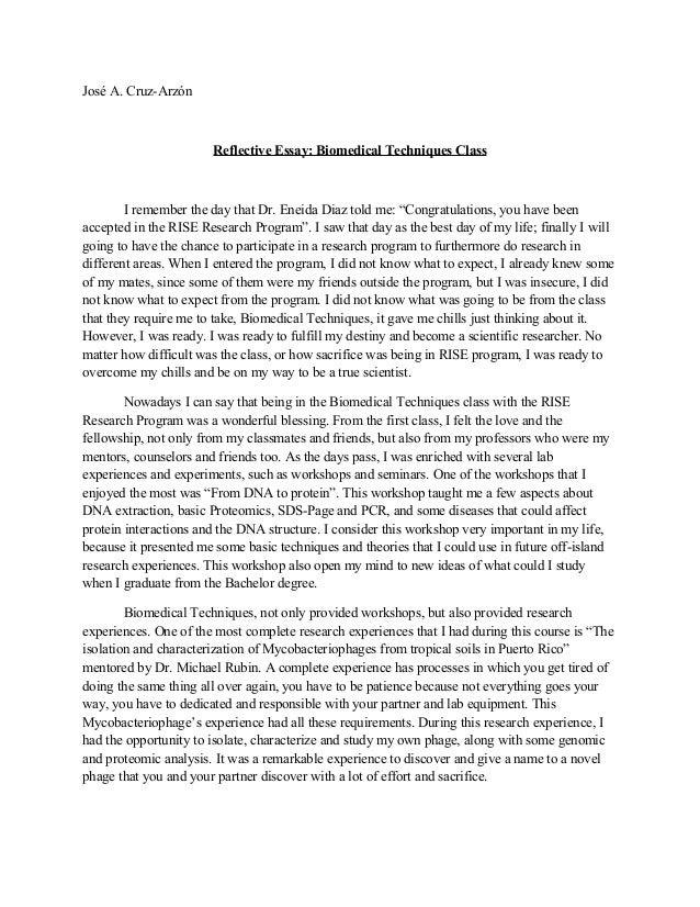 how to write a health care reflective essay