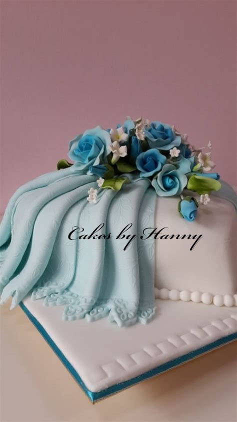 Cakes by Hanny: Blue Heart Shaped Cake   Wedding Cake