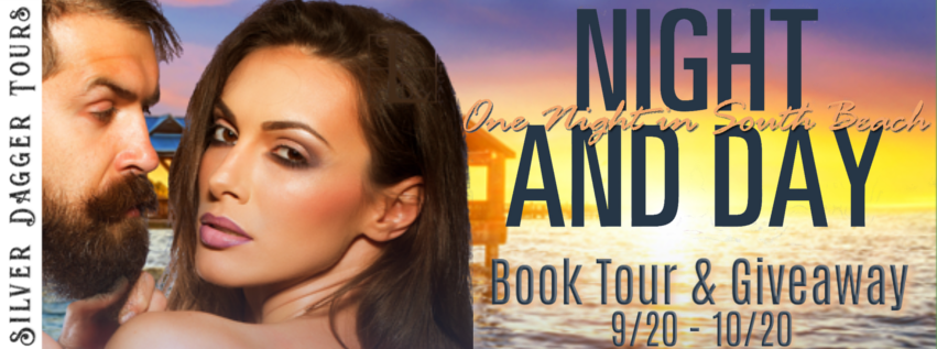 Book Tour Banner for contemporary romance Night and Day from the One Night in South Beach series by Andie J. Christopher  with a Book Tour Giveaway