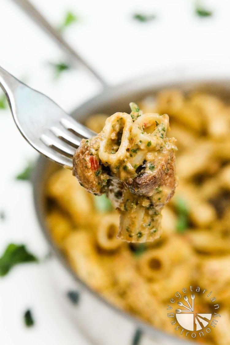 Creamy SunDried Tomato, Miso, and Basil Pesto Pasta with Roasted Mushrooms  Vegetarian Gastronomy