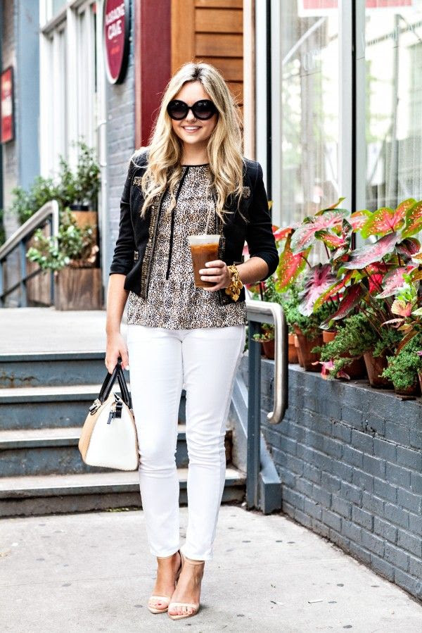 Bows and Sequins: How to Wear White Jeans to the Office