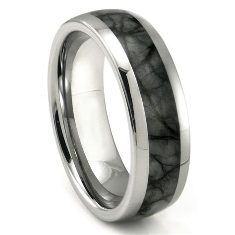 Tungsten Carbide Grey Metamorphic stone Inlay Dome Wedding