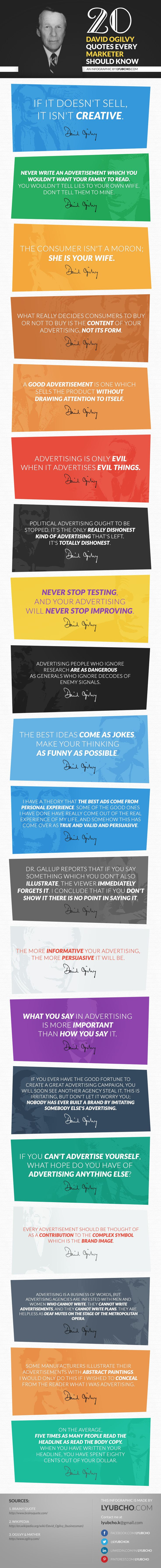 20 David Ogilvy Quotes Every Digital Marketer Should Know - #infographic