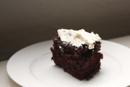 Butter Roux Icing on a Dark Chocolate Cake