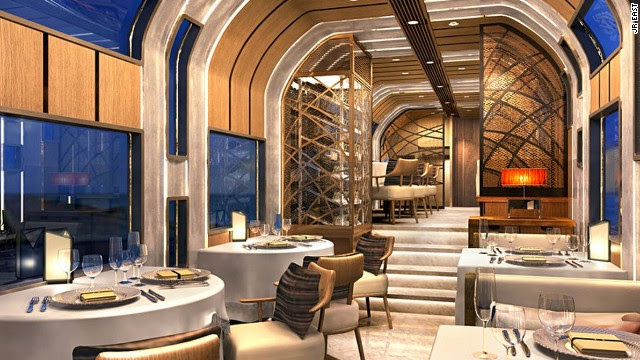 The Cruise Train's 10 carriages include five suites, one deluxe suite, two glass-walled observation cars, a dining car and lounge.