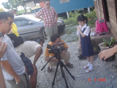 Preparing to shoot a scene with Erica