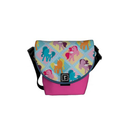 Retro Girly Ponies Messenger Bags