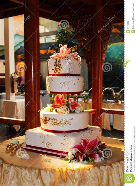 Chinese wedding cake stock photo. Image of flowers, flower