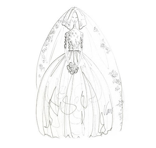 Wedding Dress Sketches - by Vera Wang for Kate Middleton