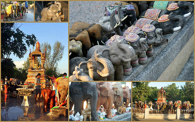 Lots of elephants around the Four-faced Buddha Shrine at Promthep Cape