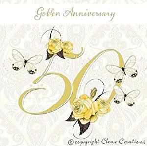 Golden wedding card   50th wedding anniversary: Amazon.co