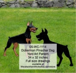 Doberman Dog Yard Art Woodworking Pattern - fee plans from WoodworkersWorkshop® Online Store - Doberman,dogs,pets,animals,yard art,painting wood crafts,scrollsawing patterns,drawings,plywood,plywoodworking plans,woodworkers projects,workshop blueprints