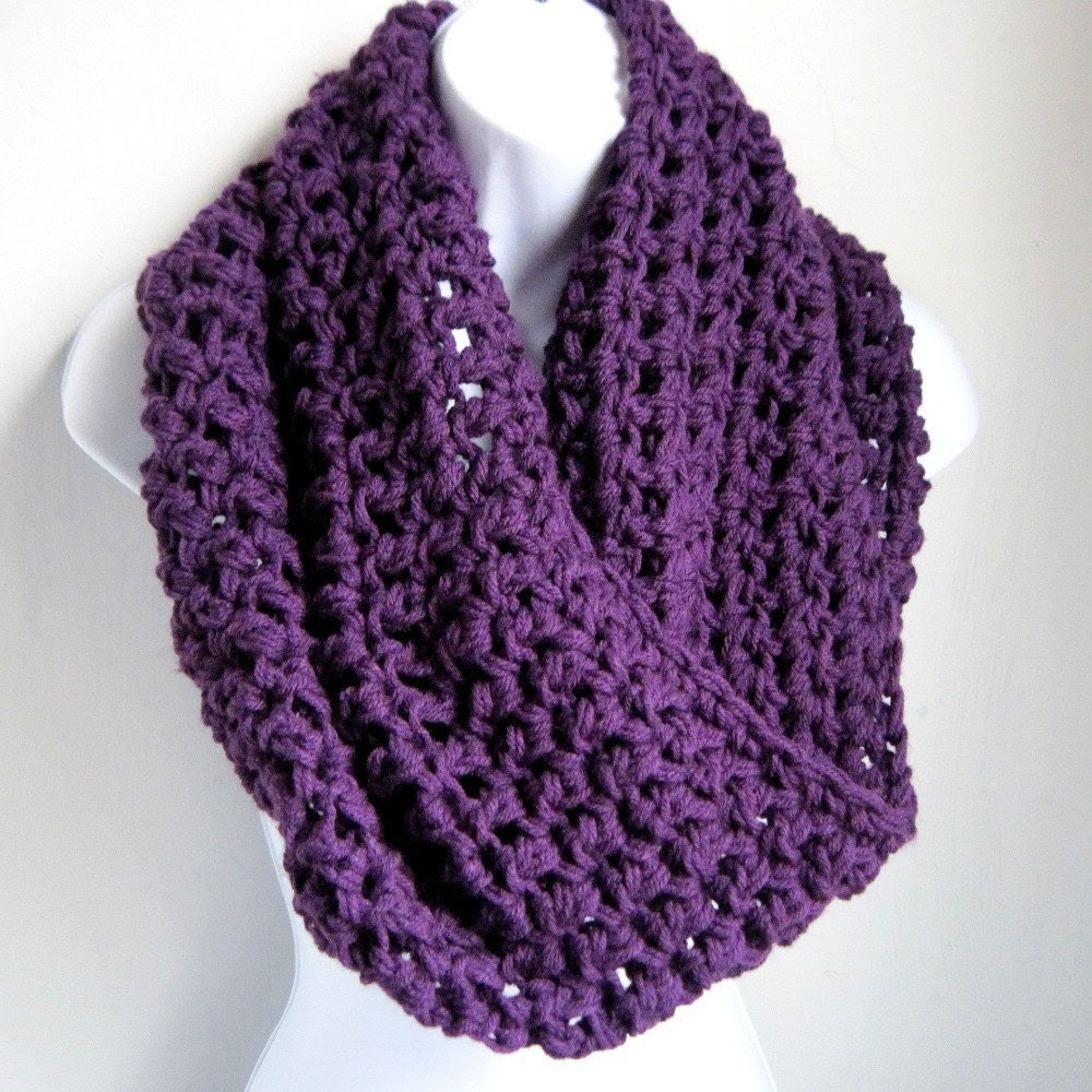"Infinity Scarf Plum Purple Extra Large Chunky Scarf ""Buy one get one 50% off lowest price"""