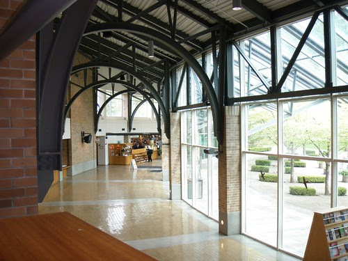 view thru the galleria to the library