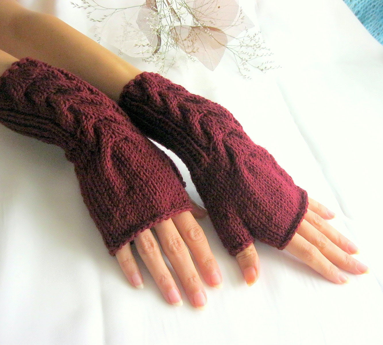 Burgundy Fingerless Gloves with a  cable