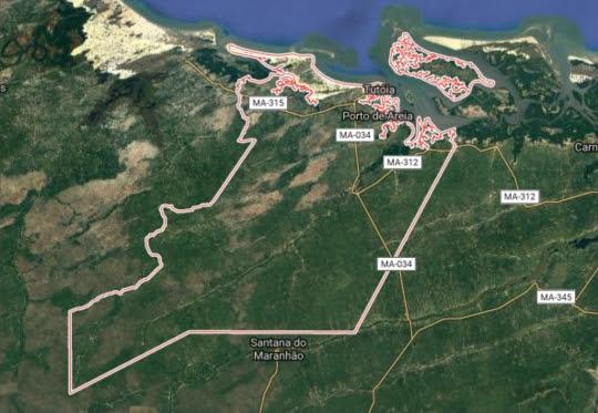 Área do município de Tutóia (Imagem: Google maps).