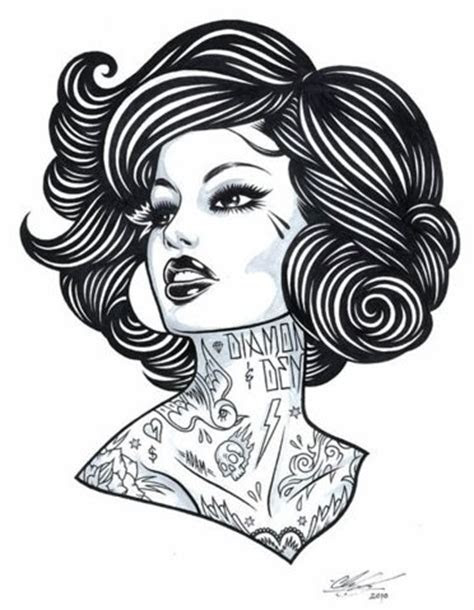 tattoo girl tattoo girl drawing art black white draw