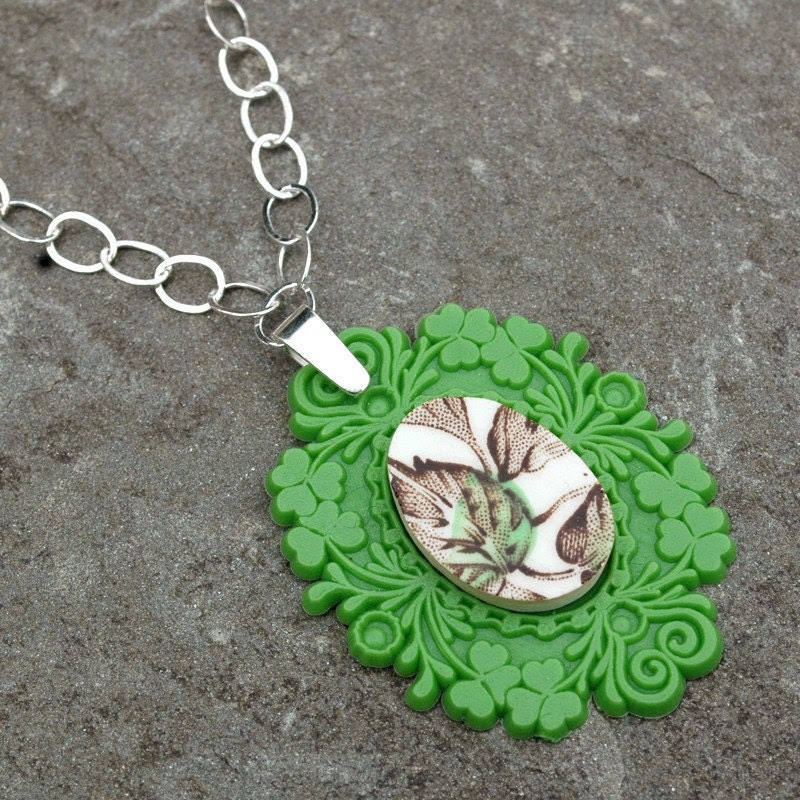 Green French Brocade Broken Plate Necklace