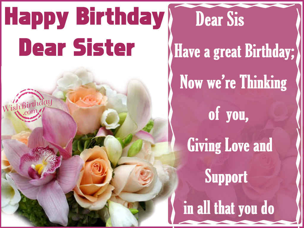 Happy Birthday Sister WishBirthday