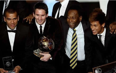 Daniel Alves, Lionel Messi, Pelé and Neymar at FIFA's Balon d'Or 2011-2012 gala/ceremony