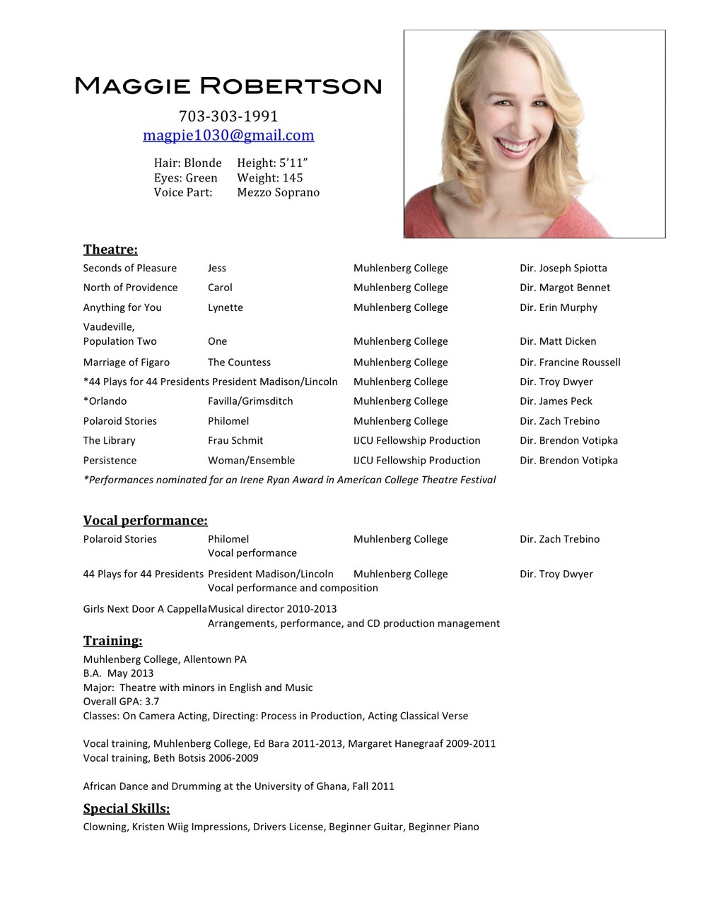 Kids Theater Resume Examples Best Resume Examples