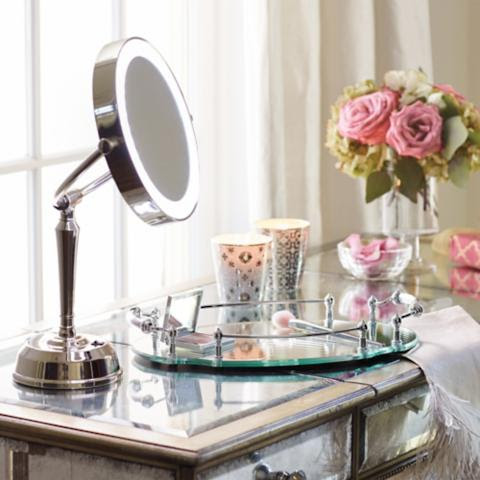 Cordless LED Height Adjustable Rechargeable Vanity Mirror ...