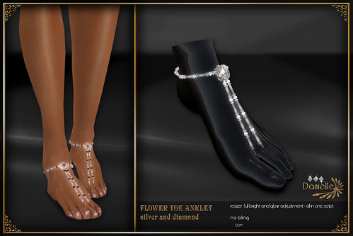 DANIELLE Flower Toe Anklet Silver And Diamond