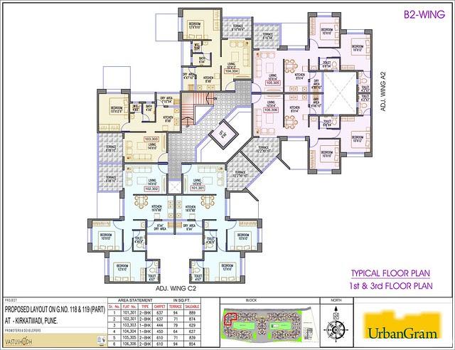 B2 1st & 3rd Floor - 2 BHK Flat for Rs. 25 Lakhs at Urbangram Kirkatwadi on Sinhagad Road Pune 411 024