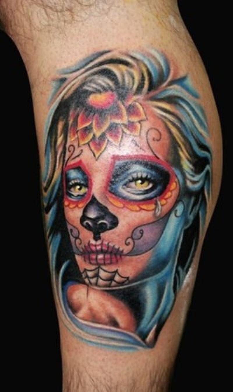 Dia De Los Muertos Girl Face Tattoo Design 2 Tattoos Book 65000