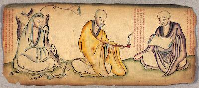 sketch of Tibetan monks
