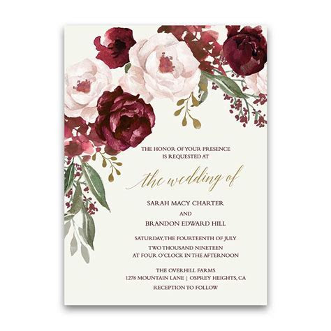 Wedding Invitations Personalized Eggplant Purple Fall Floral