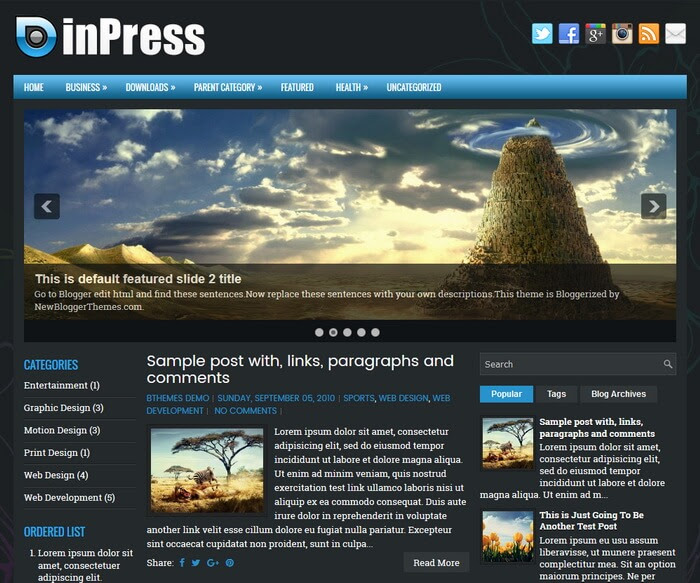 inPress Blogger Template