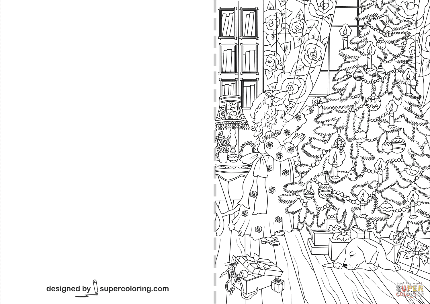 Little Girl Decorating Christmas Tree Card coloring page ...