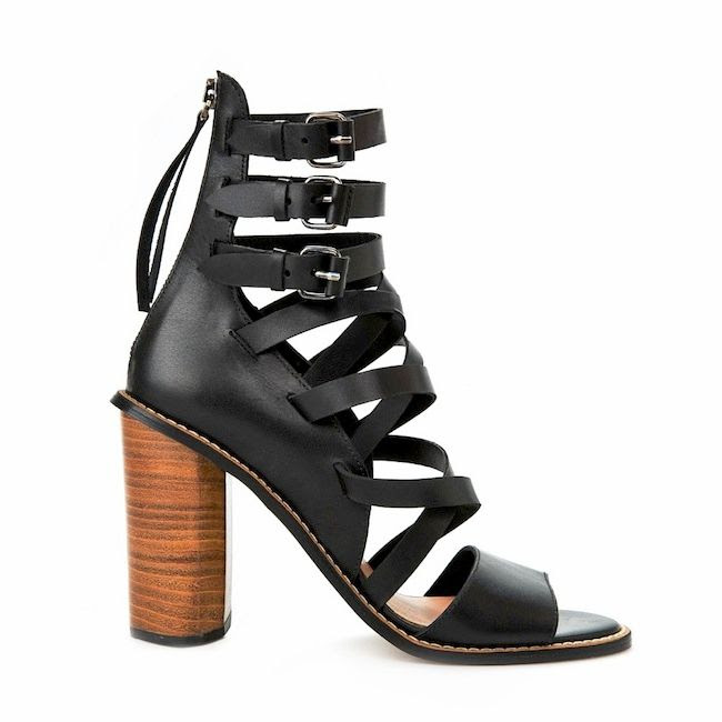 Le Fashion Blog Summer Style Mango Black Leather Gladiator Sandals With Wooden Heel Triple Ankle Buckles Under 200