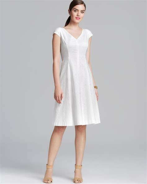 Calvin Klein Sleeveless Jacquard Aline Dress In White Lyst