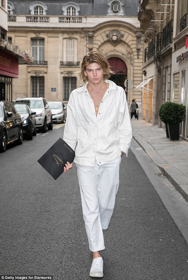 All-white everything: Model Jordan Barrett looked angelic in an all-white look